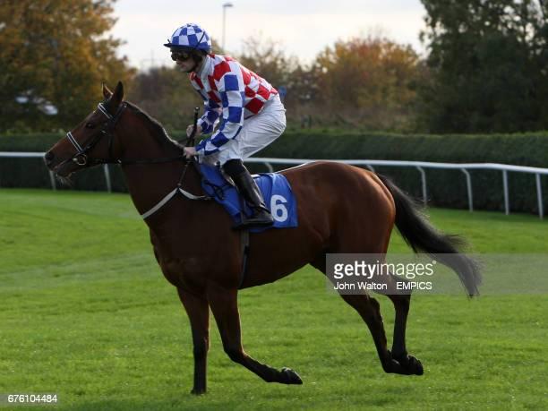 Jockey Paul Mulrennan on Speedy Senorita goes to post in the Mourdakota Hotel Handicap