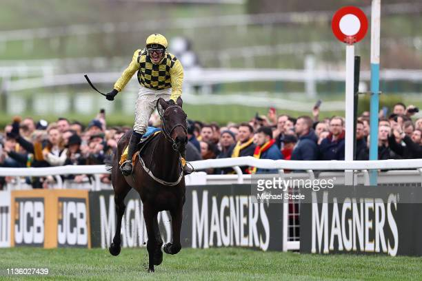 Jockey Paul Townend on Al Boum Photo celebrates victory in the Magners Cheltenham Gold Cup on Gold Cup Day at Cheltenham Racecourse on March 15, 2019...