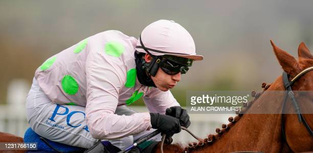 Jockey Paul Townend riding Monkfish races to victory to win The Brown Advisory Novices' Chase at Cheltenham Racecourse on March 17, 2021 in...