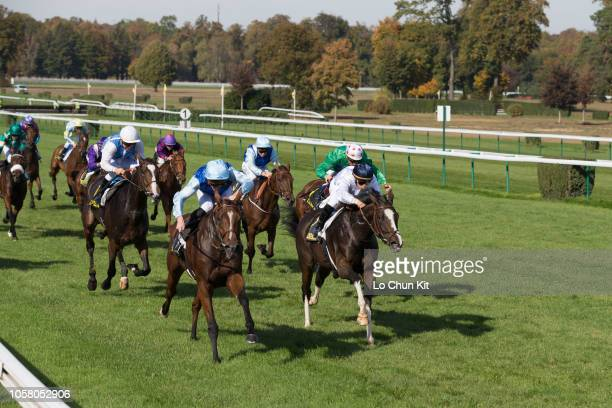 Jockey Pierre-Charles Boudot riding Ligne D'or wins the Race 4 Charles Laffitte Listed Stakes at Compiegne racecourse on October 8, 2018 in...