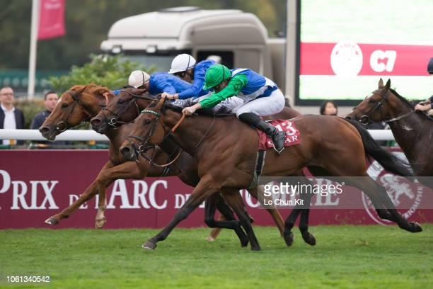 Jockey PierreCharles Boudot riding One Master wins the Race 7 Qatar Prix de la Foret at ParisLongchamp racecourse on October 7 2018 in Paris France