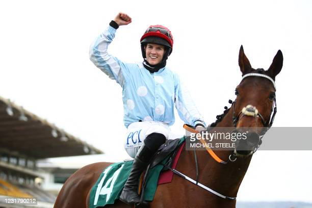 Jockey Rachael Blackmore celebrates after riding Telmesomethinggirl to win the Parnell Properties Mares' Novices' Hurdle on Day Three of the...