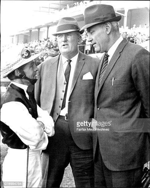 Jockey Ray Selkrig was in a happy mood talking with trainer F Allsop before hot favorite Alfalfa was beaten in the first Concord Graduation at...