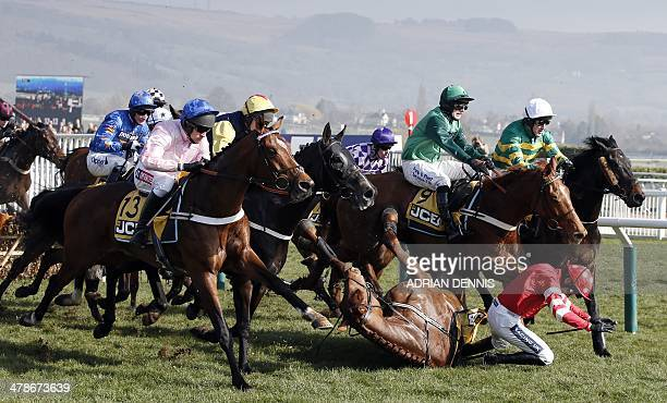 Jockey Ruby Walsh falls from Abbyssial after jumping the first hurdle during the The JCB Triumph Hurdle race on the final day of the Cheltenham...