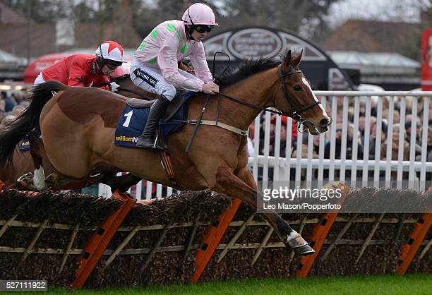 The King George Meeting at Kempton Park UK Ruby Walsh riding Faugheen clears the last to win The Christmas Hurdle Race