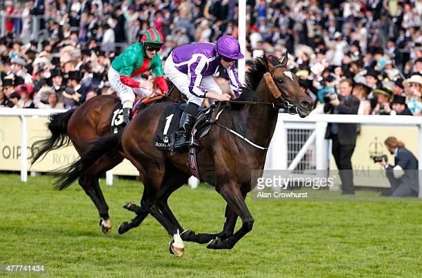 Jockey Ryan Moore and Aloft win the Queen's Vase taking a record ninth victory at the royal meeting during Royal Ascot 2015 at Ascot racecourse on...