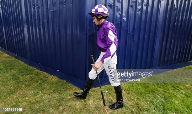 Jim Crowley riding Mankib wins The Dubai Duty Free Cup Stakes at Newbury Racecourse on September 21 2018 in Newbury United Kingdom