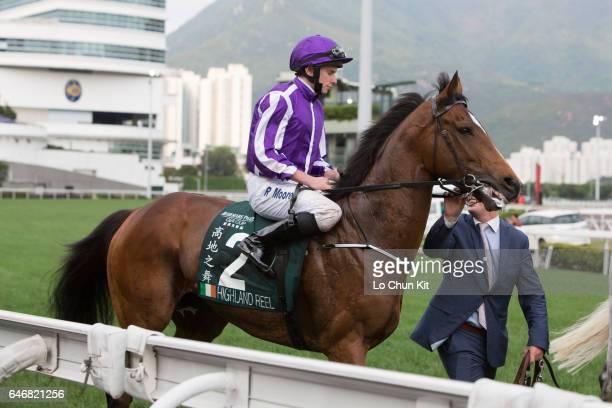 Jockey Ryan Moore riding Highland Reel during Race 8 Audemars Piguet Queen Elizabeth II Cup at Sha Tin racecourse on April 24 2016 in Hong Kong Hong...