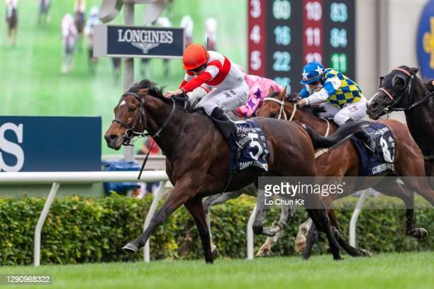 Jockey Ryan Moore riding Japanese runner Danon Smash wins the Race 5 Longines Hong Kong Sprint at Sha Tin Racecourse on December 13, 2020 in Hong...