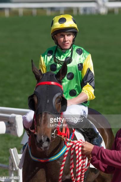 Jockey Ryan Moore riding Nothingilikemore wins the Race 4 Tai Ping Shan Handicap at Sha Tin racecourse on January 22 2017 in Hong Kong Hong Kong