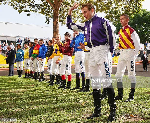 Jockey Ryan Moore waves before race 9 The William Hill Cox plate during Cox Plate Day at Moonee Valley Racecourse on October 24 2015 in Melbourne...