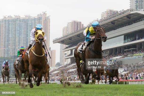 Jockey Sam Clipperton riding Hit A Home Run wins Race 1 Bering Sea Handicap at Sha Tin racecourse on May 7 2017 in Hong Kong Hong Kong