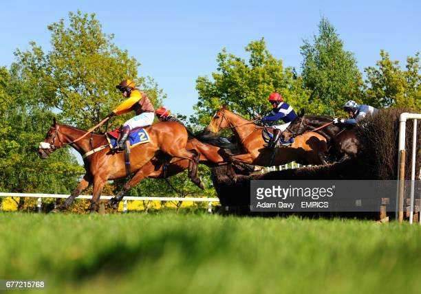 Jockey Sam WaleyCohen on Otage De Brion jumps ahead of Miss Georgina Andrews on Delightful Cliche Miss Louise Alan on Assassino and Mr Rupert Stearn...