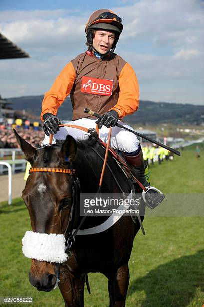 Jockey Sam Waley-Cohen riding Long Run pictured moments after winning the totesport Cheltenham Gold Cup Chase race by seven lengths during the...