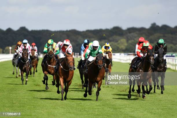 Jockey Sammy Jo Bell riding Dubai Acclaim wins the Mondialiste Leger Legends Classifoed Stakes during the St Ledger Festival at Doncaster Racecourse...