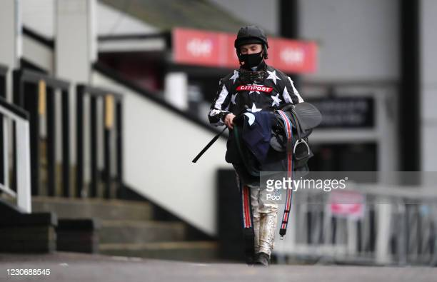 Jockey Sean Bowen after the Providers Of Man Power Silvershine Novices' Hurdle at Chepstow Racecourse on January 20, 2021 in Chepstow, Wales.