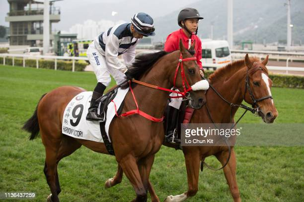 Jockey Silvestre De Sousa riding Harmony Victory during the Race 8 The BMW Hong Kong Derby 2019 at Sha Tin Racecourse on March 17, 2019 in Hong Kong.