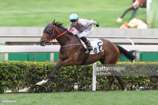 Jockey Silvestre De Sousa riding Limitless wins Race 9 South Wall Handicap at Sha Tin racecourse on February 19 2017 in Hong Kong Hong Kong