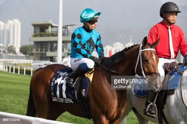 KONG DECEMBER Jockey Silvestre De Sousa riding Stormy Liberal in the LONGINES Hong Kong Sprint at the Sha Tin Racecourse during the LONGINES Hong...