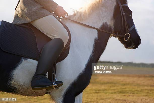 jockey sitting on horse in countryside, close up. - boot stock pictures, royalty-free photos & images
