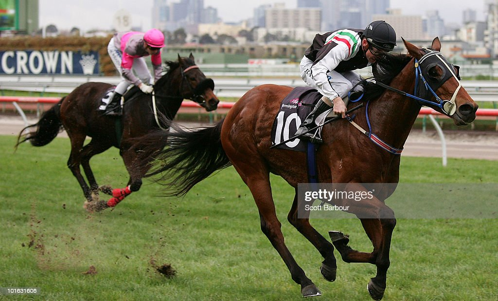 Jockey Stephen Baster rides Elusive Touch to win race 5 the 2010 All Victorian Sprint Series Heat 4 during David Bourke Provincial Plate Day at Flemington Racecourse on June 5, 2010 in Melbourne, Australia.
