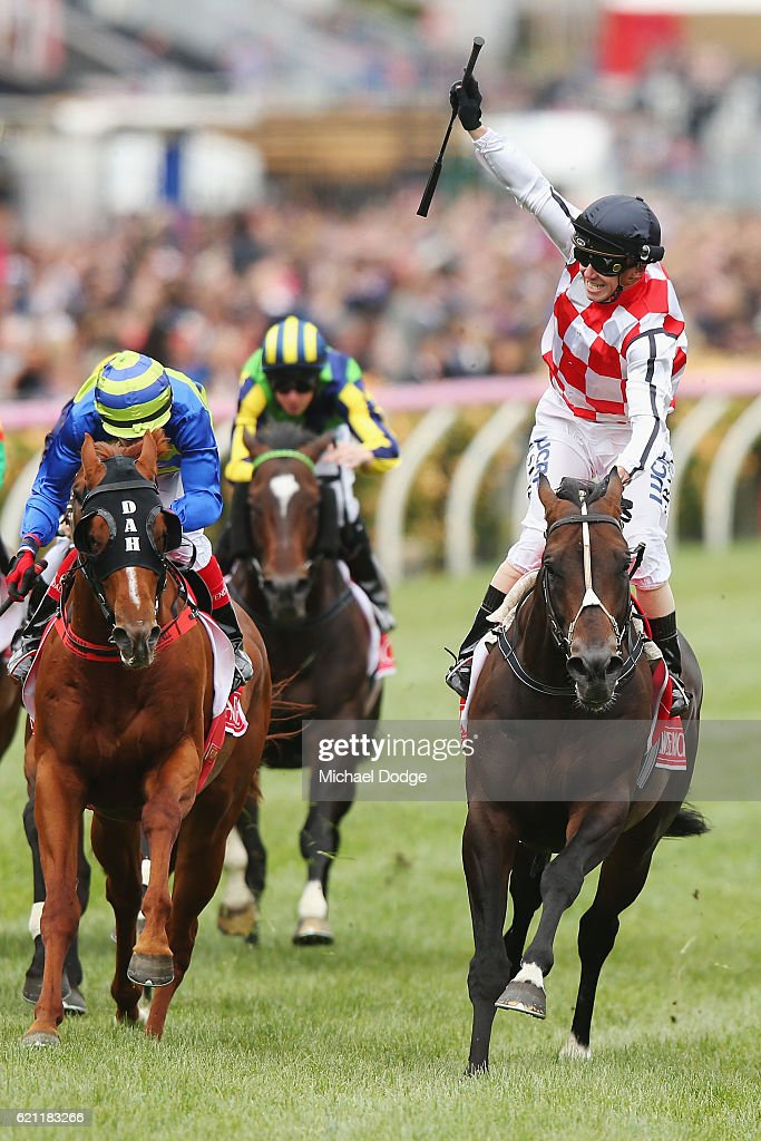 Jockey Stephen Baster riding Awesome Rock wins race 7 the Emirates Stakes on Stakes Day at Flemington Racecourse on November 5, 2016 in Melbourne, Australia.