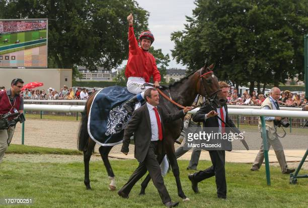 Jockey Thierry Jarnet winner of 'Prix de Diane Longines' 2013 with 'Treve' is seen at Hippodrome de Chantilly on June 16 2013 in Chantilly France