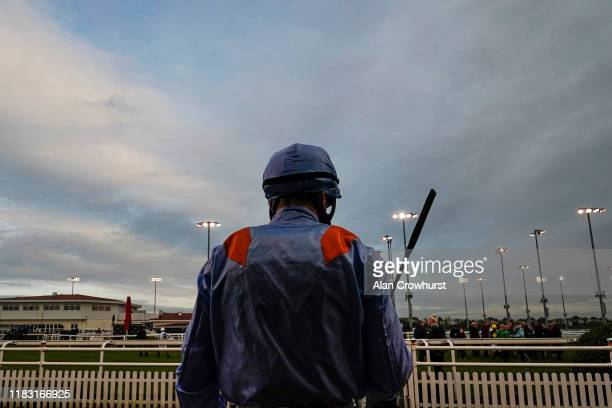 Jockey Tom Marquand makes his way to the parade ring at Chelmsford City Racecourse on October 24, 2019 in Chelmsford, England.