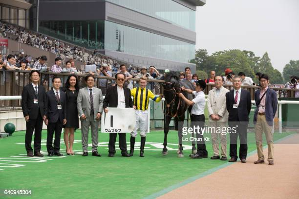 Jockey Tommy Berry celebrate with owners after riding Umbruch winning the Race 5 during the Japanese Derby weekend on May 28 2016 at Tokyo Racecourse...
