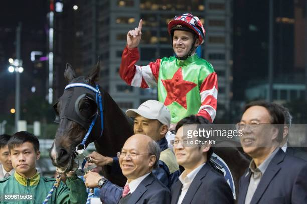 Jockey Tommy Berry riding Born Dragon wins the Race 5 Ting Kau Handicap at Happy Valley Racecourse on December 27 2017 in Hong Kong Hong Kong