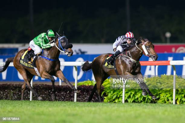 Jockey Tommy Berry riding Dan Excel wins the Race 10 Singapore Airlines International Cup at Kranji Racecourse during the Singapore International...