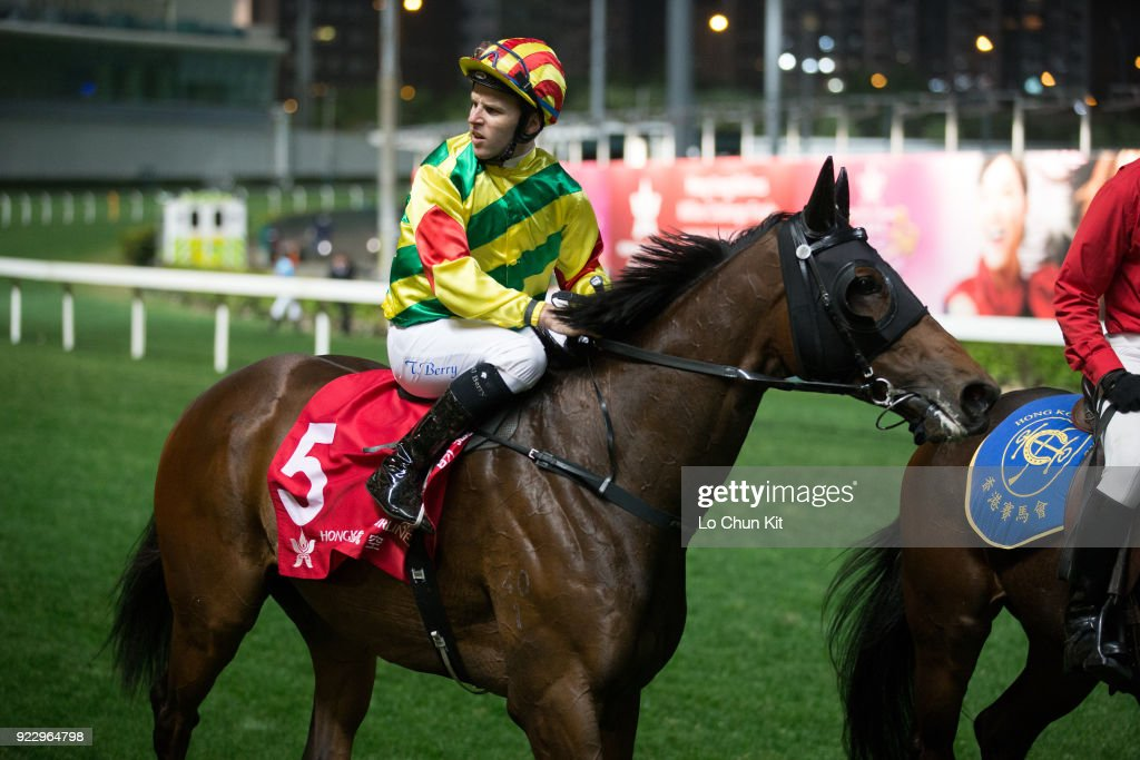 Jockey Tommy Berry riding Imperial Gallantry wins the Race 9 King Kwong Handicap at Happy Valley Racecourse on February 21, 2018 in Hong Kong, Hong Kong.
