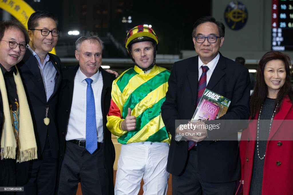 Jockey Tommy Berry , trainer Paul O'Sullivan and owners celebrate after Imperial Gallantry winning the Race 9 King Kwong Handicap at Happy Valley Racecourse on February 21, 2018 in Hong Kong, Hong Kong.