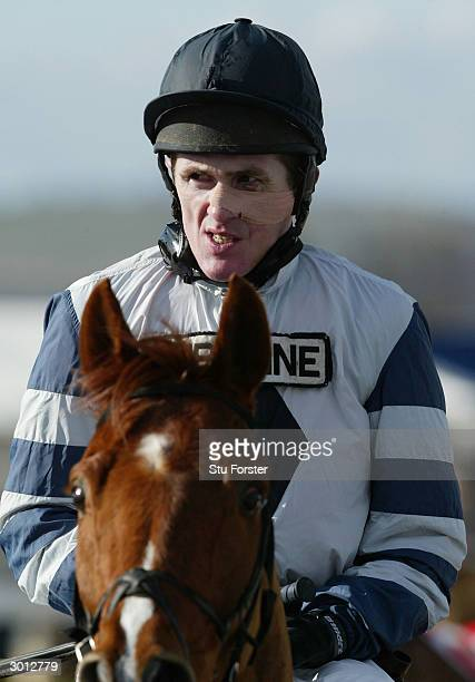 Jockey Tony McCoy comes into the winners enclosure on Jardin Fleuri after winning his first race on his comeback during The Corve Novices Selling...