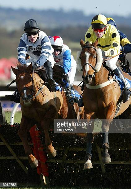 Jockey Tony McCoy comes over the fence on Jardin Fleuri on his way to winning his first race on his comeback during The Corve Novices Selling Hurdle...