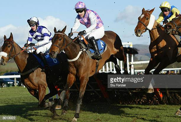 Jockey Tony McCoy rides Ken'tucky to victory on his comeback during The Arrow Handicap Hurdle Race at Ludlow Racecourse on February 25 2004 in Ludlow...