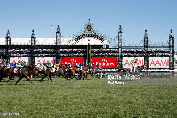 Jockey Tye Angland rides Ace High to win race 7 the AAMI Victoria Derby on Derby Day at Flemington Racecourse on November 4 2017 in Melbourne...
