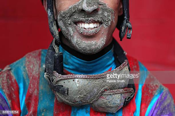 Jockey Victor Carrasco poses for a portrait after jockeying Never Stop Looking in The 2nd Running of the Old Bay Race prior to the 141st running of...