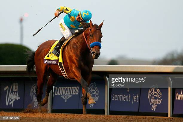 Jockey Victor Espinoza celebrates after riding American Pharoah to victory in the Breeders' Cup Classic at Keeneland Racecourse on October 31, 2015...