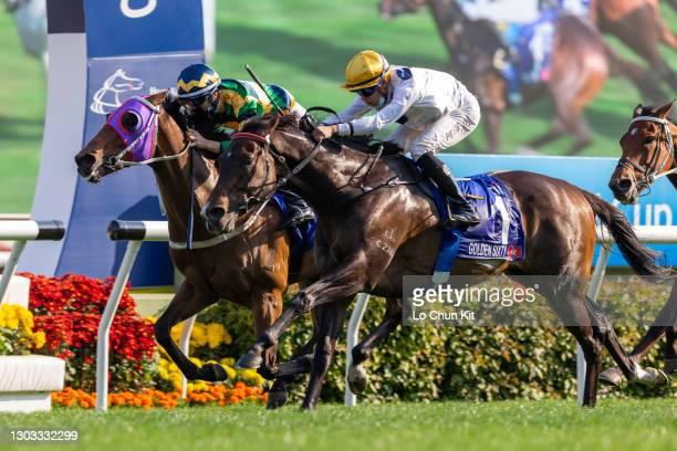 Jockey Vincent Ho Chak-yiu riding Golden Sixty wins the Race 7 Citi Hong Kong Gold Cup at Sha Tin Racecourse on February 21, 2021 in Hong Kong....