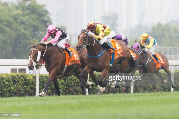 April 26 : Jockey Vincent Ho Chak-yiu riding Southern Legend wins the Race 7 FWD Champions Mile at Sha Tin Racecourse on April 26, 2020 in Hong Kong....