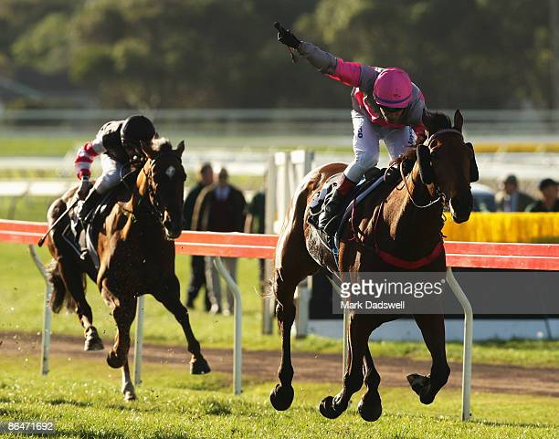 Jockey Wayne Hokai riding No 3 Hissing Sid wins the LuxbetCom Warrnambool Cup on May 7 2009 in Warrnambool Australia The Cup is part of the May...