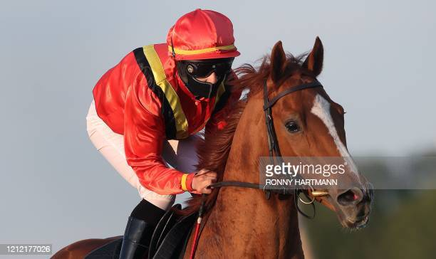 A jockey wearing a protective face mask rides a horse during a race at the Neue Bult trotting course in Hanover northwestern Germany on May 7 during...