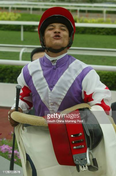 Jockey Weichong Marwing blowing a kiss to supporters after mounting Joyful Spirit to win the Race 9 at Sha Tin Racecourse 18 May 2003