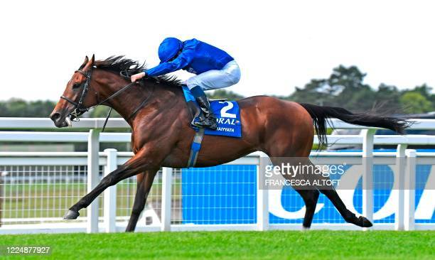 Jockey William Buick rides Ghaiyyath to victory in The Eclipse Stakes at Sandown, south-west of London on July 5, 2020.