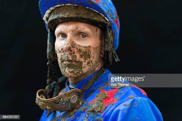 Jockey with Mud Splattered Face