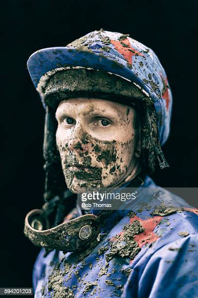 Jockey with Mud Splattered Face