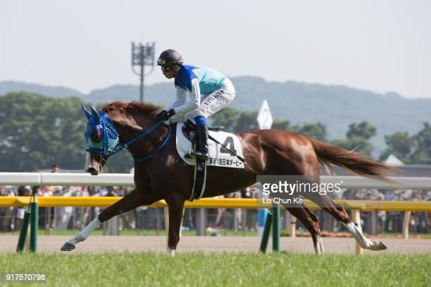 Jockey Yasunari Iwata riding Admire Deus during the Tokyo Yushun at Tokyo Racecourse on June 1 2014 in Tokyo Japan Tokyo Yushun Japanese Derby is the...