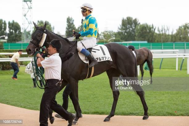 Jockey Yasunari Iwata riding Alma Anon wins the Race 2 at Sapporo Racecourse on August 26 2018 in Sapporo Hokkaido Japan