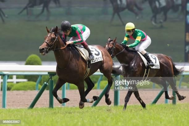 Jockey Yuichi Fukunaga riding Mieno Win Win wins the Race 4 at Hanshin Racecourse on June 24 2018 in Takarazuka Japan